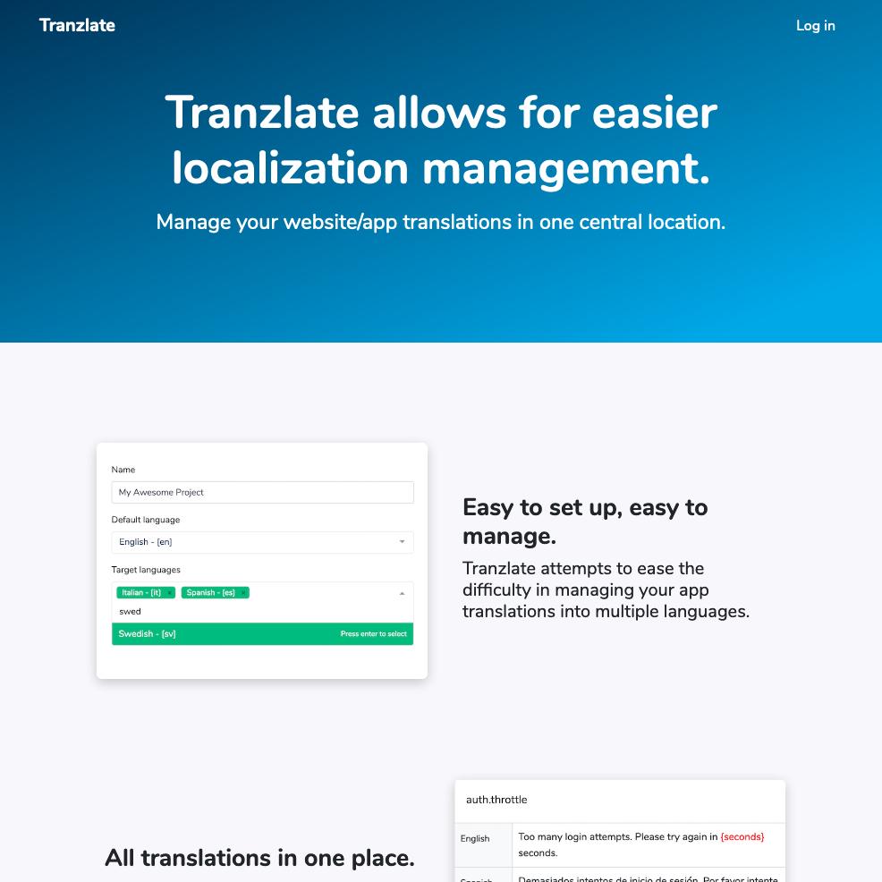 Tranzlate.io website home page